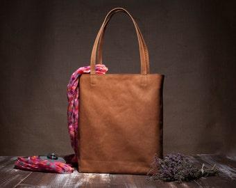 Leather tote bag - brown leather tote - shoulder bag - camel leather - large bag