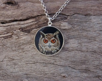 Hand Painted Eurasian Eagle Owl Pendant