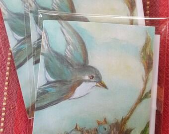 Mama Bluebird with nest of babies- notecard  4.25 x 5.5vintage,mothers day, valentine, wedding, anniversary,birthday,customizable
