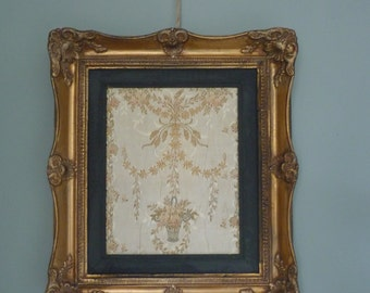 SOLD** Beautiful French Vintage tapestry/embroidery In an elegant Vintage gold frame