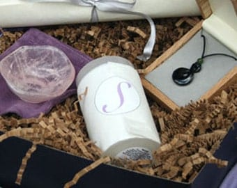 Comfort Serenity Gift Box gift set jade pikorua necklace, rose quartz bowl, candle, gift box for comfort tranquility peace connection