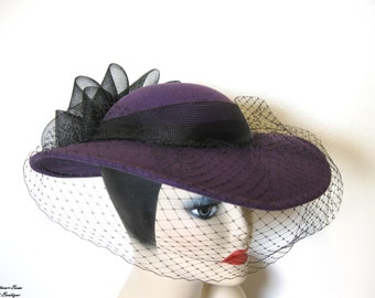 Sale!~ Vintage Purple Wool Derby Style Hat, w/Veil~ Sonni San Francisco