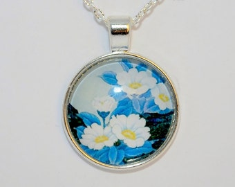 Flower Necklace, Flower Pendant, Round Glass Cabochon, Flower Jewelry.