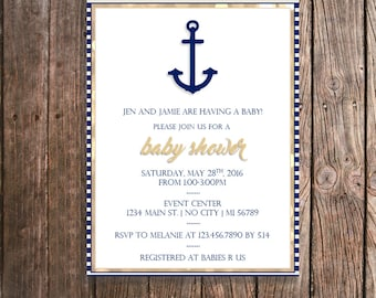Nautical Baby Shower Invitations - Navy  and Gold Nautical Anchor - Customized Printed Invitations - Personalized Baby Shower Invite PRINTS