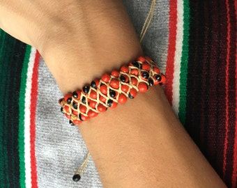 Peruvian Red Beaded Friendship Bracelet