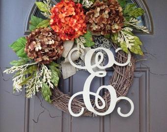 Fall Wreath for Front Door- Monogrammed Hydrangea Wreath - Grapevine Wreath with Burlap - Front Door Wreath with Initial - Housewarming Gift