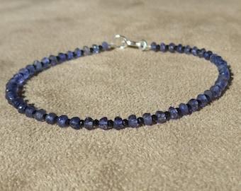 Iolite Bracelet, Black Spinel Bracelet, Gemstone Bracelet, Dainty Bracelet, Iolite Anklet, Black Spinel Anklet, Modern Bracelet
