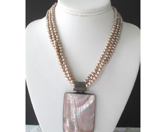 Shell Pendant Necklace * Paua Abalone *  Triple Strand Freshwater Pearls * Champagne Color
