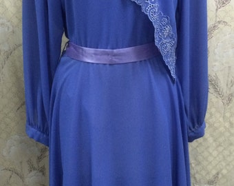 Vintage 1980s Blue Layered Dress with belt from Ursula of Switzerland