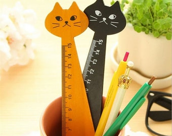 SALE! Wooden Cat Ruler, Cute Kawaii Stationary Writing Supplies, Natural, Black, 15 CM