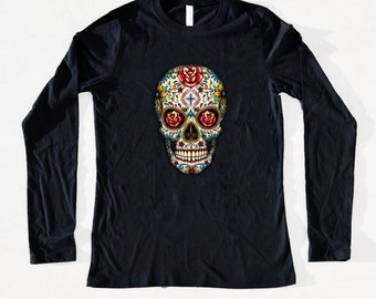 Sugar Skull Roses Women's Fashion Long Sleeve Cool Day Of The Dead Dia De Los Muertos T-Shirt