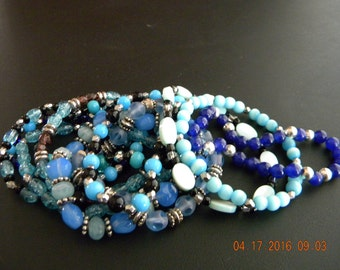 SALE! Set of 11 Boho Stretch Beaded Bracelets, Blue Color Family
