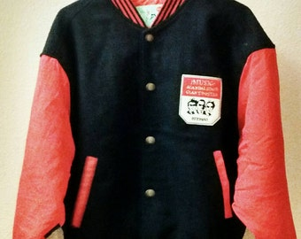 Mens large black and red Letterman's jacket.