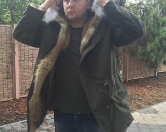 Brand fur parka, Brand new natural coyote fur jacket coat, Mens jacket, jacket coyote men's fur coat, coyote fur coat, mens fur