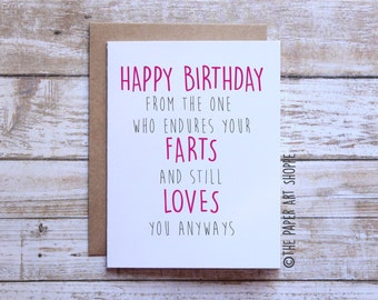 Funny birthday card, happy birthday card, fart card, Card from girlfriend, card from boyfriend, card from wife, card from husband