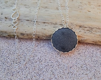 SALE! Maine Beach Stone & Fine Silver Pendant / Maine Made Jewelry / Long Layer Necklace / Gift for Her / Sterling Silver / Nautical / Rock