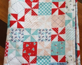 "Riley Blake Country Girls Patchwork Baby Blanket-Flannel and Minky-Size 30""x40"""