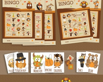 30 Unique Fall BINGO Game Party Printables - Autumn Games - Instant Download - Harvest School Party Printable - Thanksgiving Holiday Parties