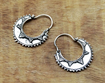 Gypsy Hoop Earrings, Silver Earrings, Gypsy Earrings, Tribal Hoops, Indian Earrings,  Silver Hoops, Tribal Earrings, Gypsy Jewelry