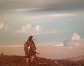 """Painting by Listed Native American Artist Jonny Hawk (1934 - ) Titled """"Memory in a Crying Wind"""" Depiction Native American Hawk Buffalo Sgn"""