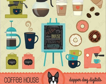 Coffee Clipart Pack - Commercial Use, Vector Images, Digital Clip Art, Digital Images