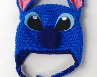 Stitch Alien Earflap Crochet Hat-FREE SHIPPING!- Multiple Sizes Available