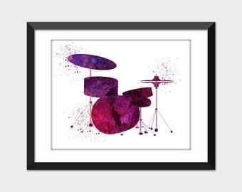 Drums Music Watercolor Art Print, Printable Musical Instrument Art, Instant Digital Download