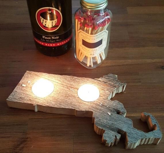 state shape barnwood tealight candle holders larger version set of