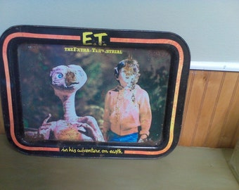 Vintage TV tray, E.T TV tray, E.T., vintage decor, movie prop