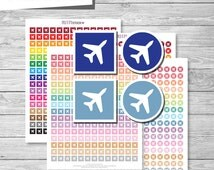 Airplane Travel Planner Stickers, Airplane Travel Printable Stickers PDF, Circle and Square Travel Icons Stickers - Instant Download // PS50