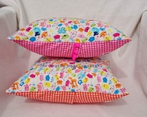 Bright Neon Funny Cat Orange/ Pink Gingham 30cm/ 12 inch Cushion/ Pillow with Cushion Pad