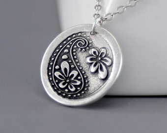 Paisley Necklace, Silver Bohemian Jewelry, Hippie Pendant Necklace, Sterling Silver Circle Necklace, Boho Necklace, Silver Layering Jewelry