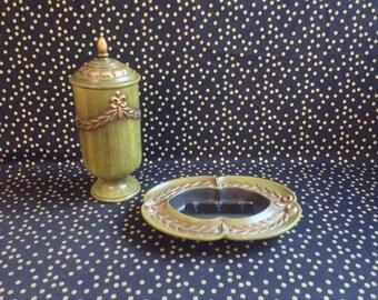 Greek Gardens~Haeger~Urn~Ashtray~Vanity Set~Green and Gold~1064~724