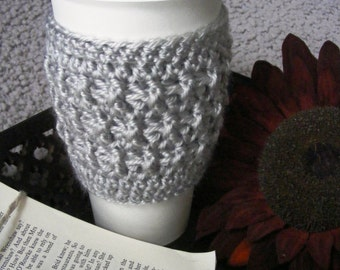 Cup Cozy, Coffee Cup Sleeve, Tea Cozy, Travel Mug Cozy, To-go Cup Sleeve, Misty Grey, Crochet