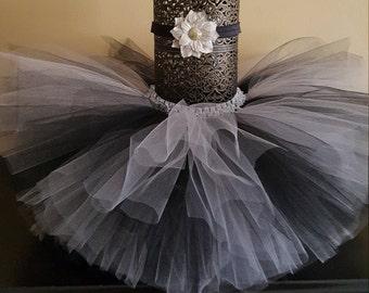 Black and Silver tutu headband set, newborn tutu, tutu skirt, toddler tutu, black tutu, grey tutu