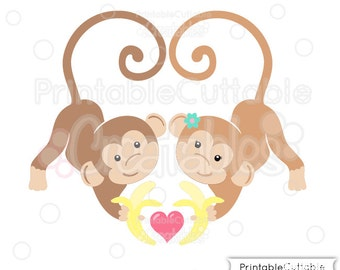 Love Monkeys SVG Cut File & Clipart - Includes Limited Commercial Use!