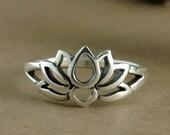 Lotus Ring~Sterling Silver Lotus Ring~Lotus Flower Ring~Lotus Flower Promise Ring