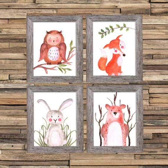 Woodland Nursery Art Theme Set Prints Nursery Woodland Art, Forest Print Set, Set of 4 Fox Bear Owl Bunny Rabbit Woodland Animal Painting