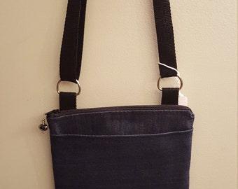 Denim Blue Cotton Purse/Crossbody/Handbag/Shoulder Bag with zipper top, pockets and adjustable strap