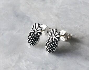 Pineapple ear studs, Sterling silver pineapple ear studs, Pineapple earrings, Tiny fruit earrings, Silver cartilage stud (ES107)