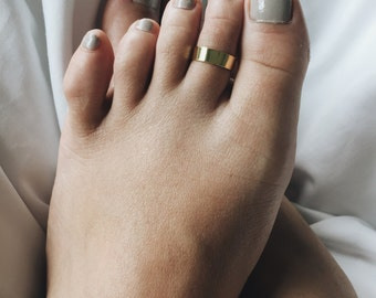 5mm gold plated cuff toe ring, Gold plated plain toe ring, Minimal gold toe ring, Minimalist jewellery, Classic toe ring (TR50)