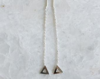 Sterling silver minimal triangle threader, Minimalist triangle threader earrings, Minimal ear chain, Minimal earrings (ER81)