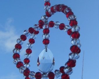 Red and clear double ring crystal sun catcher
