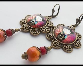 Pierced Earrings - Red Kokeshi - Asian Oriental Style - Cabochon Glass - Filigree Flower - ceramic - Bronze Antique - orange - red - fuschia