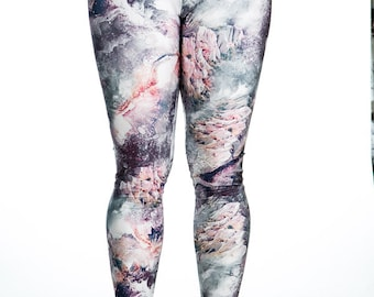 Glacier -  Print Stretchy High Waisted Spandex Leggings