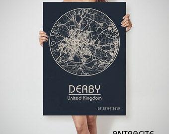 DERBY ENGLAND CANVAS Map Derby United Kingdom Poster City Map Derby England Art Print Derby United Kingdom