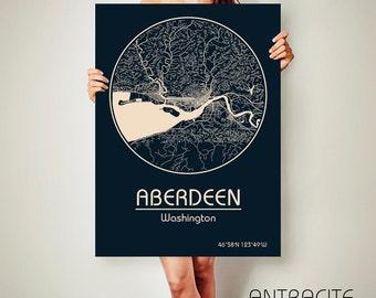 ABERDEEN Washington CANVAS Map Aberdeen Washington Poster City Map Aberdeen Washington Art Print Aberdeen Washington poster map