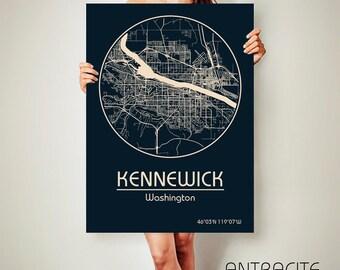 KENNEWICK Washington CANVAS Map Kennewick Washington Poster City Map Kennewick Washington Art Print Kennewick Washington