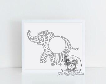 Paisley Elephant Monogram Frame