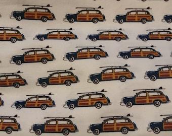 Car Woody Surfboard Flannel Crib Sheet